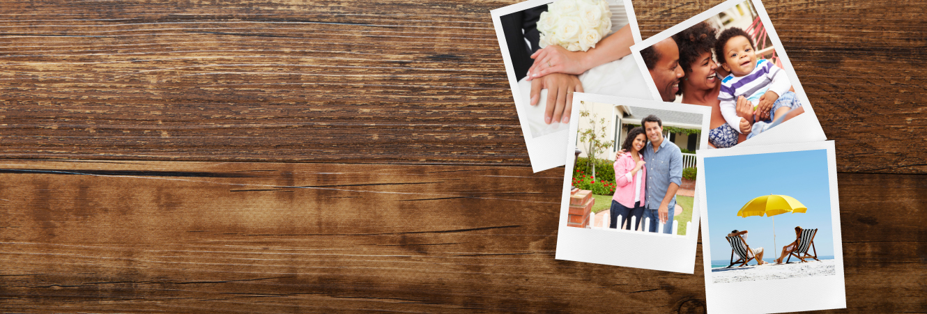 Four photos scattered on a tabletop, featuring scenes of a wedding day, a family, a newly purchased home, and a retired couple relaxing on a beach.