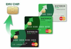 All debit cards with the chip in them with a zoom in on the chip