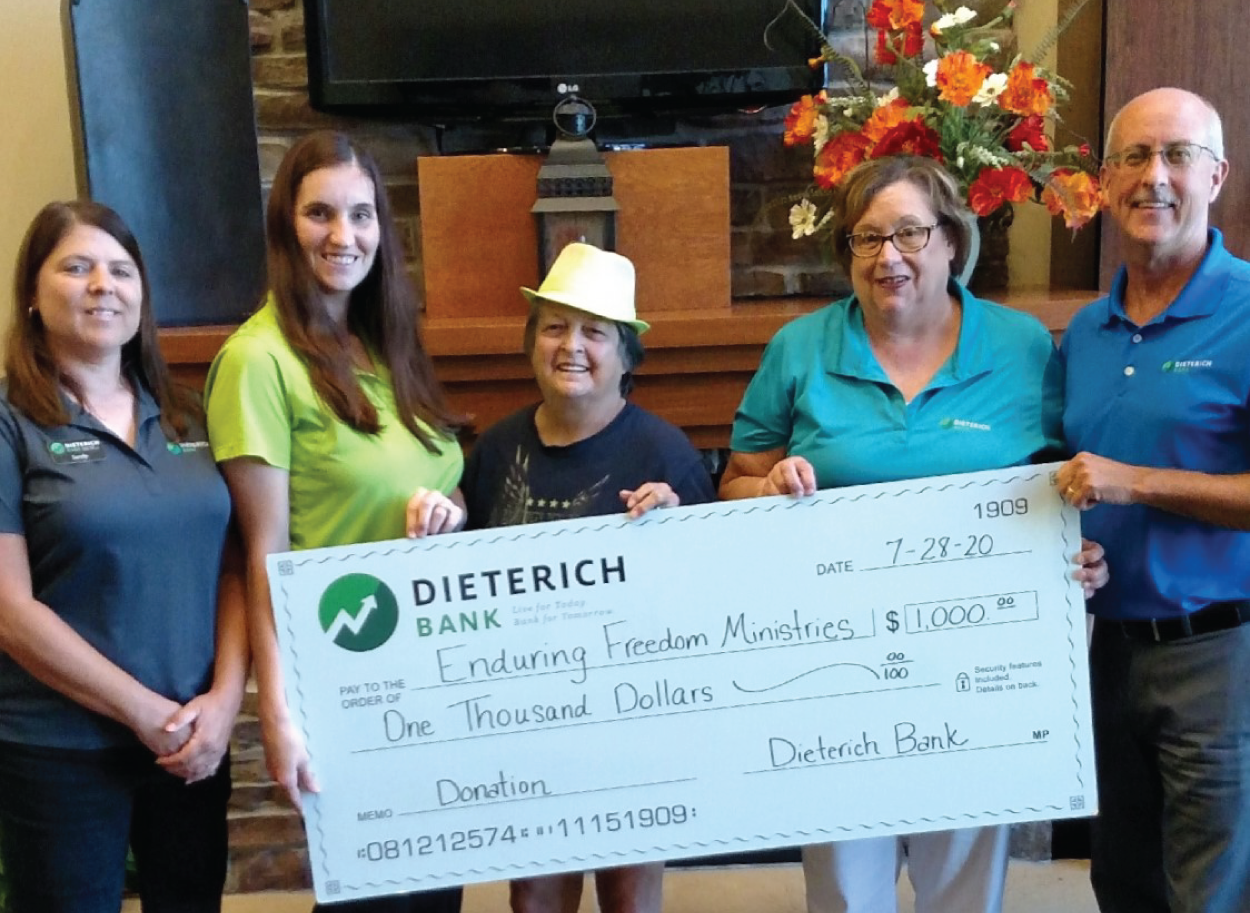 Dieterich bank's Check presentation to Enduring Freedom Ministries