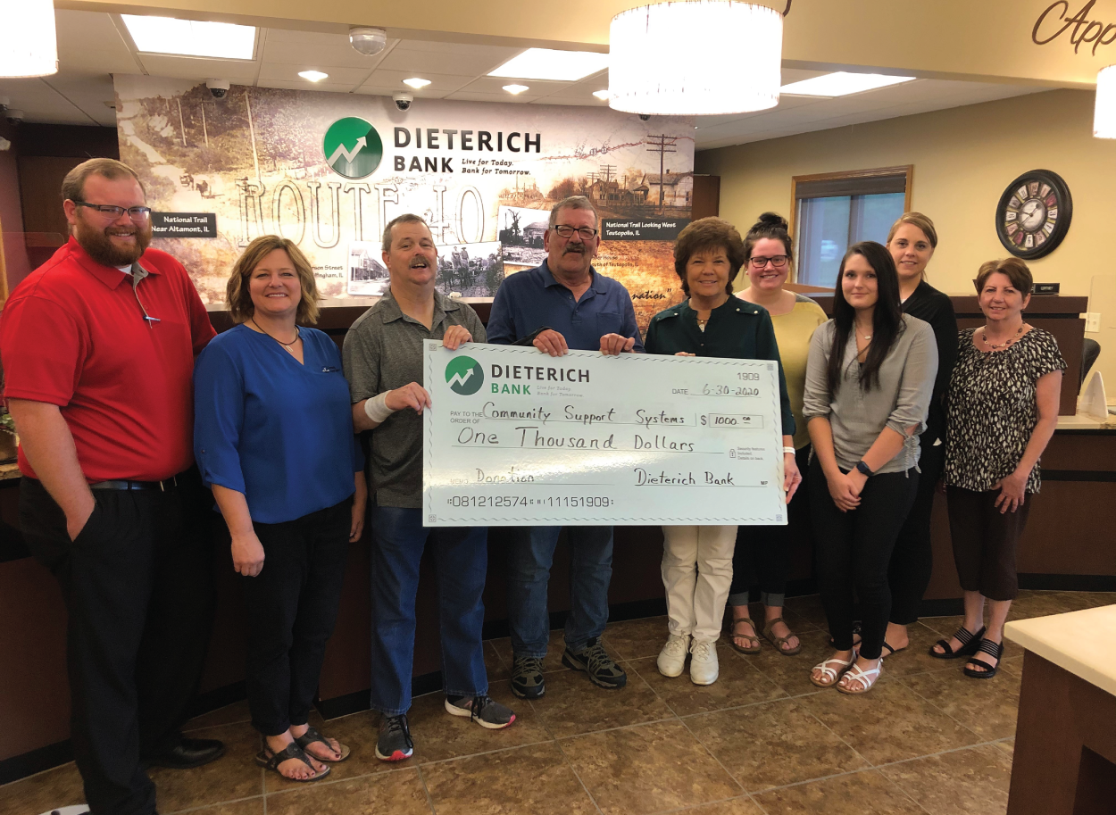 Dieterich Bank's check presentation to Community Support Systems
